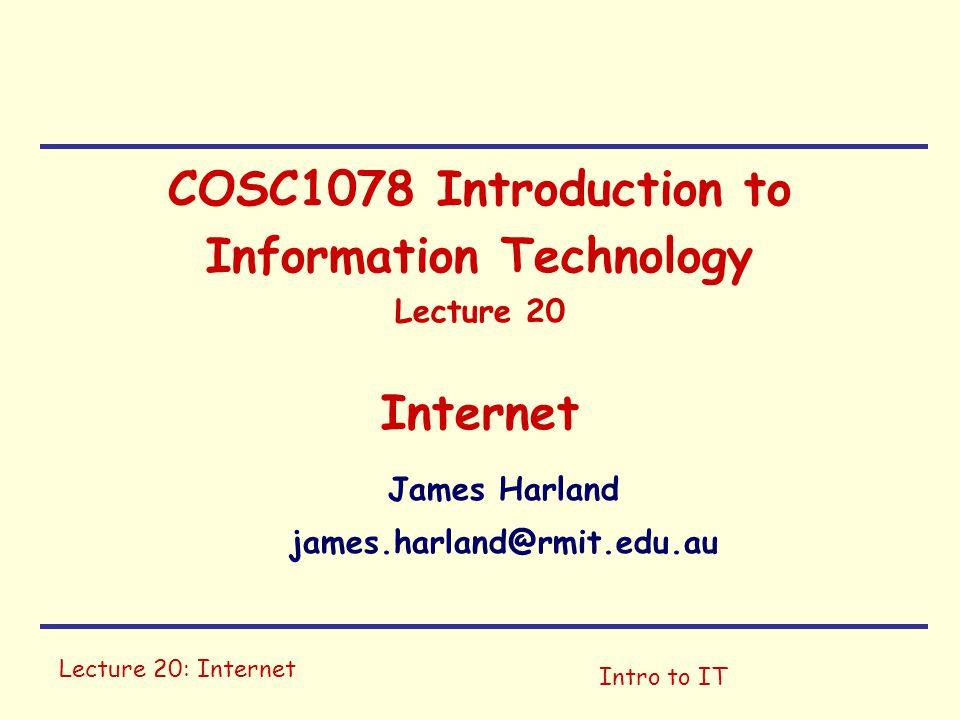 Lecture 20: InternetIntro to IT Internet Structure Application Transport Network Link Network Link Mordor sucks.