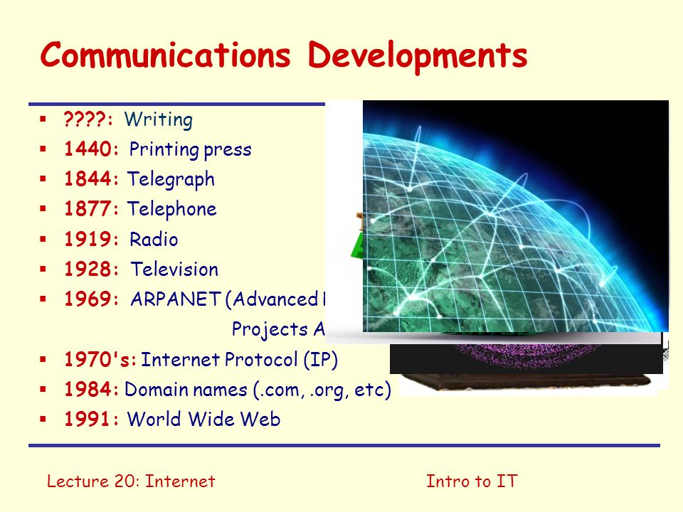 Lecture 20: InternetIntro to IT Internet Uses  File transfer & remote services  Email  Instant messaging  Web browsing  Peer to peer (P2P)  Telephony  Streaming media  Web 2.0 ....