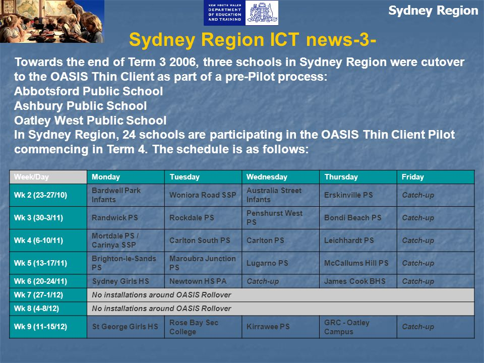 Sydney Region Sydney Region ICT news-3- Week/DayMondayTuesdayWednesdayThursdayFriday Wk 2 (23-27/10) Bardwell Park Infants Woniora Road SSP Australia Street Infants Erskinville PSCatch-up Wk 3 (30-3/11)Randwick PSRockdale PS Penshurst West PS Bondi Beach PSCatch-up Wk 4 (6-10/11) Mortdale PS / Carinya SSP Carlton South PSCarlton PSLeichhardt PSCatch-up Wk 5 (13-17/11) Brighton-le-Sands PS Maroubra Junction PS Lugarno PSMcCallums Hill PSCatch-up Wk 6 (20-24/11)Sydney Girls HSNewtown HS PACatch-upJames Cook BHSCatch-up Wk 7 (27-1/12)No installations around OASIS Rollover Wk 8 (4-8/12)No installations around OASIS Rollover Wk 9 (11-15/12)St George Girls HS Rose Bay Sec College Kirrawee PS GRC - Oatley Campus Catch-up Towards the end of Term 3 2006, three schools in Sydney Region were cutover to the OASIS Thin Client as part of a pre-Pilot process: Abbotsford Public School Ashbury Public School Oatley West Public School In Sydney Region, 24 schools are participating in the OASIS Thin Client Pilot commencing in Term 4.