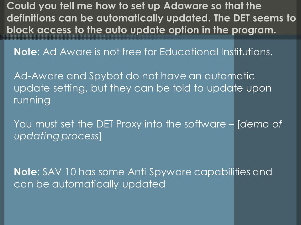 Could you tell me how to set up Adaware so that the definitions can be automatically updated.