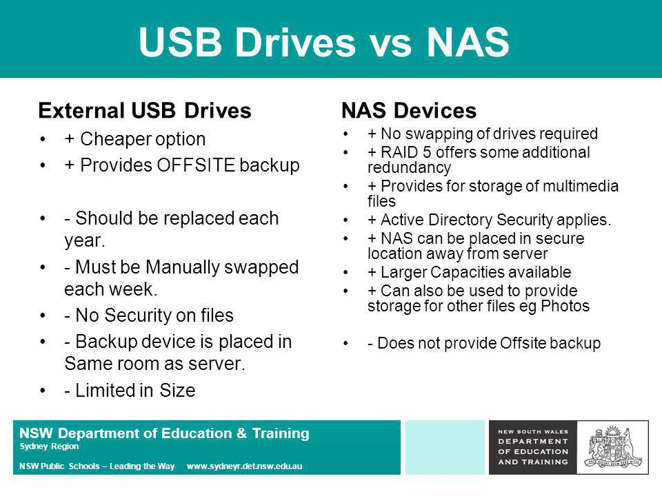 NSW Department of Education & Training Sydney Region NSW Public Schools – Leading the Way   External USB Drives + Cheaper option + Provides OFFSITE backup - Should be replaced each year.