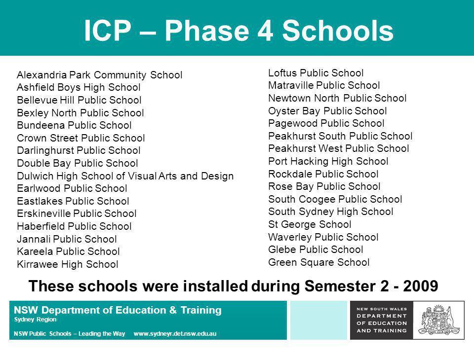 NSW Department of Education & Training Sydney Region NSW Public Schools – Leading the Way www.sydneyr.det.nsw.edu.au ICP – Phase 4 Schools Alexandria
