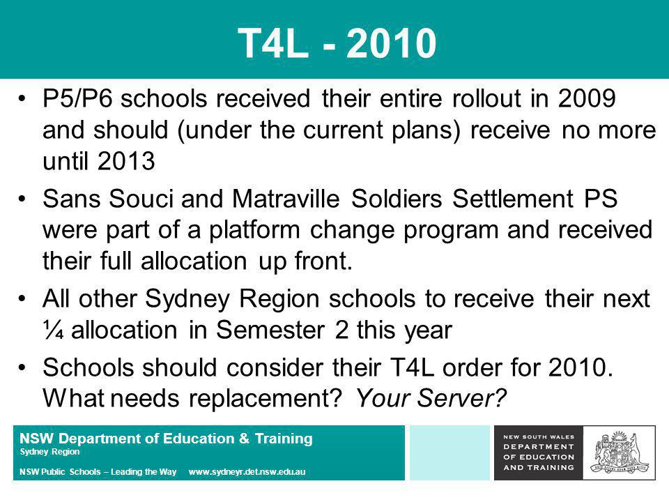 NSW Department of Education & Training Sydney Region NSW Public Schools – Leading the Way www.sydneyr.det.nsw.edu.au T4L – 2010 T4L (Hardware) Website: –http://tinyurl.com/t4lwebsitehttp://tinyurl.com/t4lwebsite Existing Acer Notebooks: –802.11n 5GHz Wireless adapter now available – $35 each –This allows Acer laptops to connect to DER Wireless in High Schools