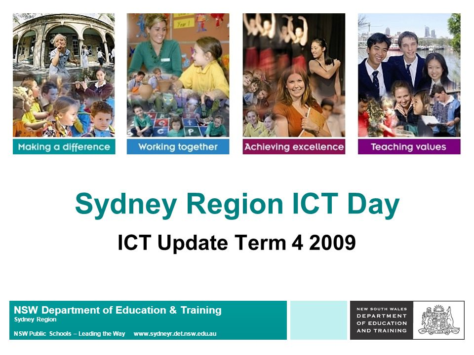 NSW Department of Education & Training Sydney Region NSW Public Schools – Leading the Way www.sydneyr.det.nsw.edu.au T4L Servers Please contact Greg Sharkey for any queries relating to the installation of new Windows Servers