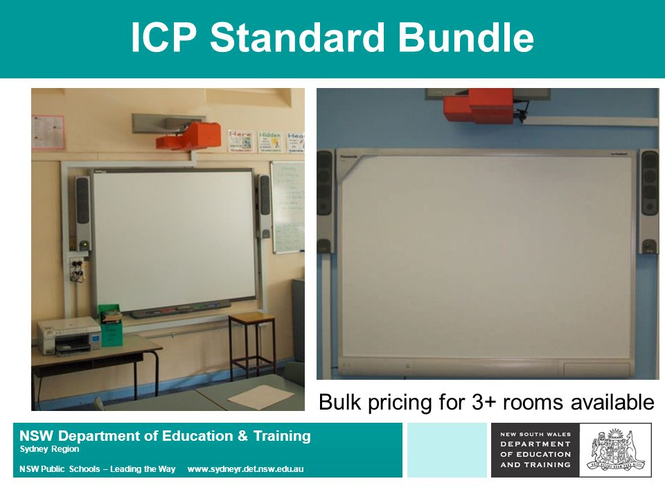 NSW Department of Education & Training Sydney Region NSW Public Schools – Leading the Way   ICP Standard Bundle Bulk pricing for 3+ rooms available