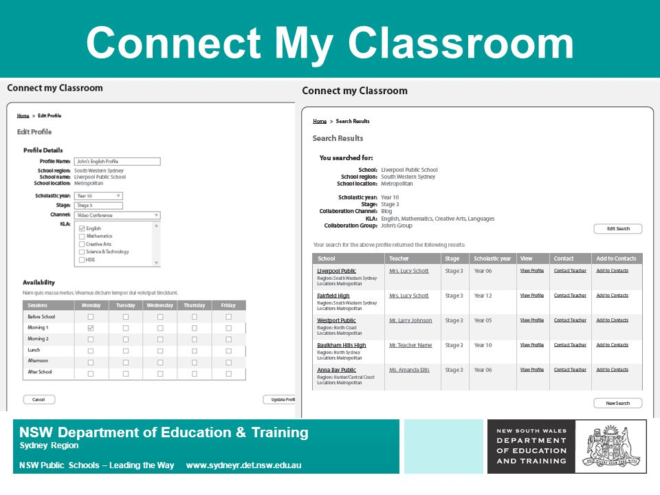 NSW Department of Education & Training Sydney Region NSW Public Schools – Leading the Way   Connect My Classroom