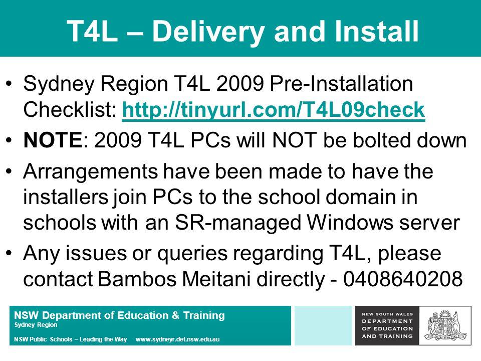 NSW Department of Education & Training Sydney Region NSW Public Schools – Leading the Way www.sydneyr.det.nsw.edu.au Building the Education Revolution All schools in Sydney Region are receiving construction works as part of the B.E.R.