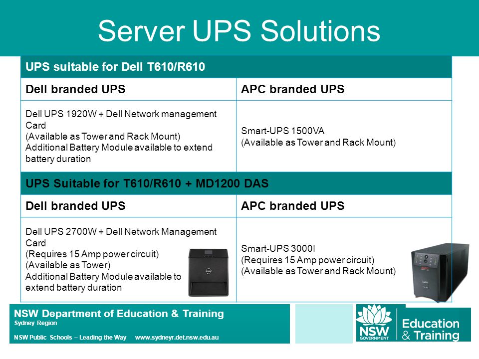 NSW Department of Education & Training Sydney Region NSW Public Schools – Leading the Way www.sydneyr.det.nsw.edu.au Server UPS Solutions UPS suitable for Dell T610/R610 Dell branded UPSAPC branded UPS Dell UPS 1920W + Dell Network management Card (Available as Tower and Rack Mount) Additional Battery Module available to extend battery duration Smart-UPS 1500VA (Available as Tower and Rack Mount) UPS Suitable for T610/R610 + MD1200 DAS Dell branded UPSAPC branded UPS Dell UPS 2700W + Dell Network Management Card (Requires 15 Amp power circuit) (Available as Tower) Additional Battery Module available to extend battery duration Smart-UPS 3000I (Requires 15 Amp power circuit) (Available as Tower and Rack Mount)