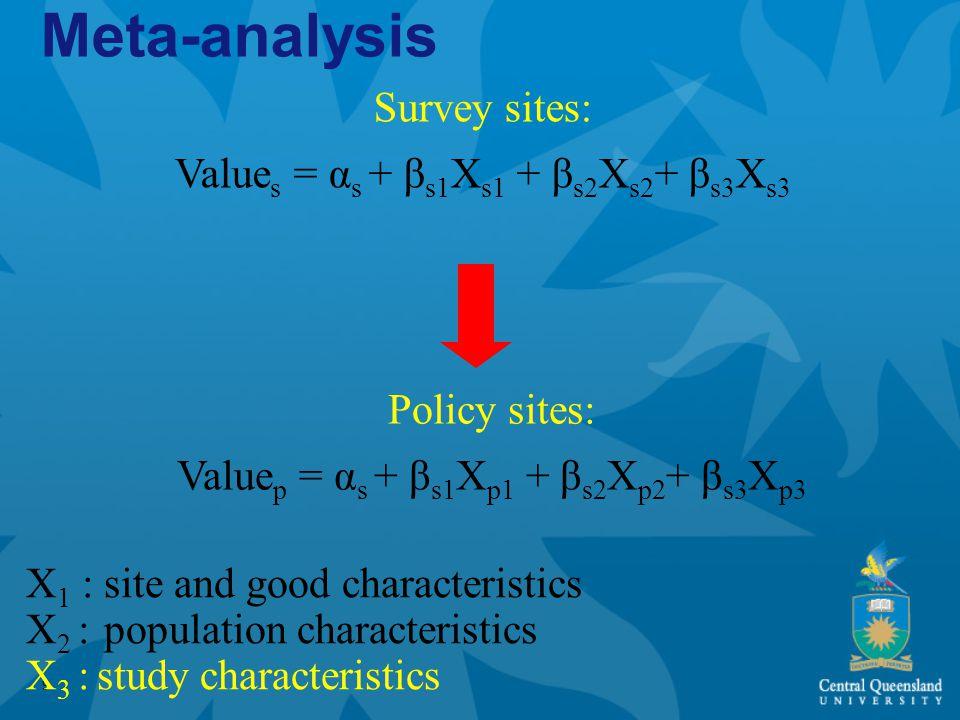 9 Survey sites: Value s = α s + β s1 X s1 + β s2 X s2 + β s3 X s3 Policy sites: Value p = α s + β s1 X p1 + β s2 X p2 + β s3 X p3 Meta-analysis X 1 : site and good characteristics X 2 : population characteristics X 3 : study characteristics