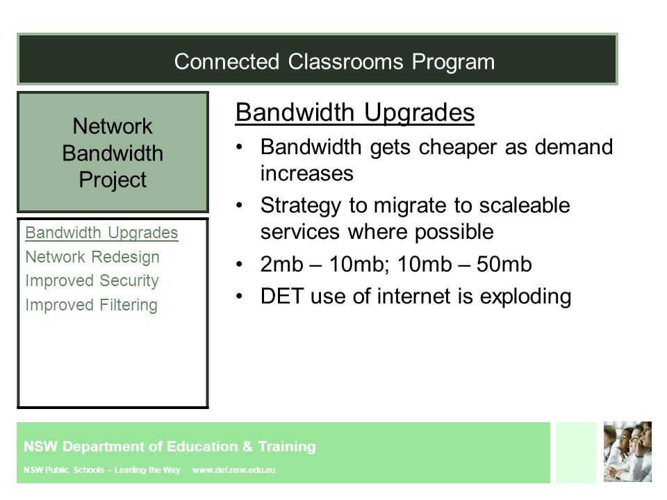 NSW Department of Education & Training NSW Public Schools – Leading the Way www.det.nsw.edu.au Network Bandwidth Project Connected Classrooms Program Bandwidth Upgrades Network Redesign Improved Security Improved Filtering Bandwidth Upgrades Bandwidth gets cheaper as demand increases Strategy to migrate to scaleable services where possible 2mb – 10mb; 10mb – 50mb DET use of internet is exploding