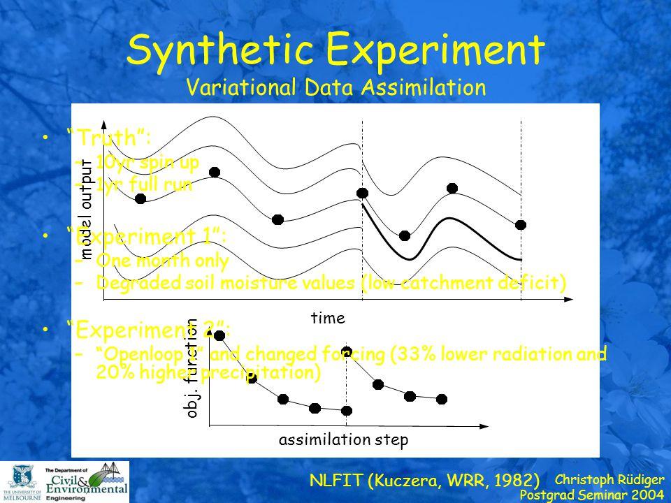 Christoph Rüdiger Postgrad Seminar 2004 Results Experiment 1 DischargeSoil Moisture