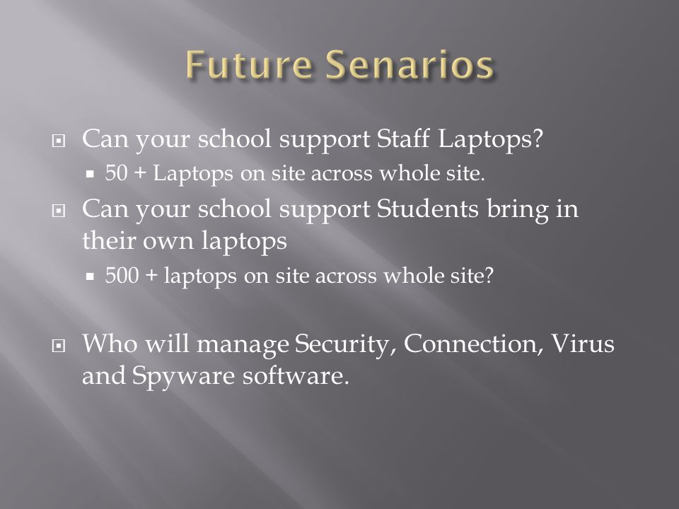  Can your school support Staff Laptops. 50 + Laptops on site across whole site.