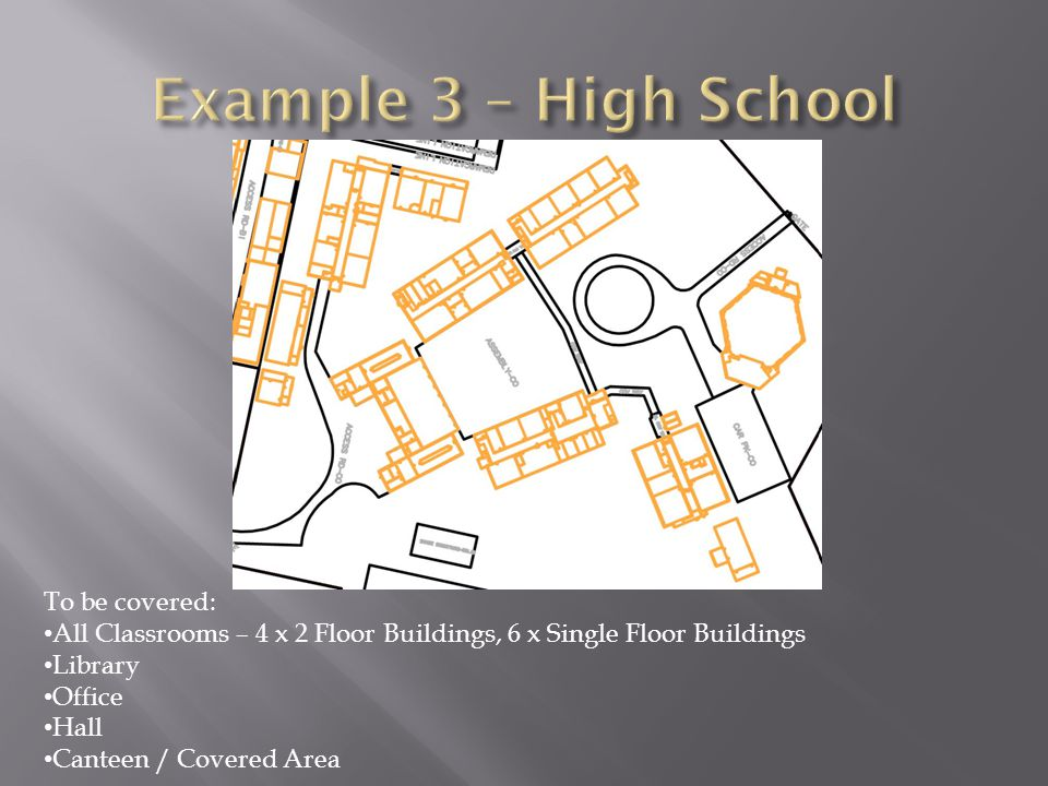 To be covered: All Classrooms – 4 x 2 Floor Buildings, 6 x Single Floor Buildings Library Office Hall Canteen / Covered Area