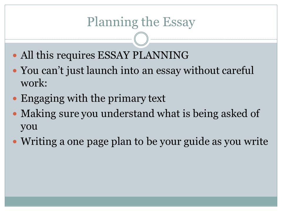 Planning the Essay All this requires ESSAY PLANNING You can't just launch into an essay without careful work: Engaging with the primary text Making su