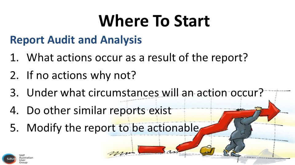 Where To Start Report Audit and Analysis 1.What actions occur as a result of the report.