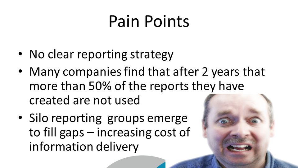 Pain Points No clear reporting strategy Many companies find that after 2 years that more than 50% of the reports they have created are not used Silo reportinggroups emerge to fill gaps – increasing cost of information delivery