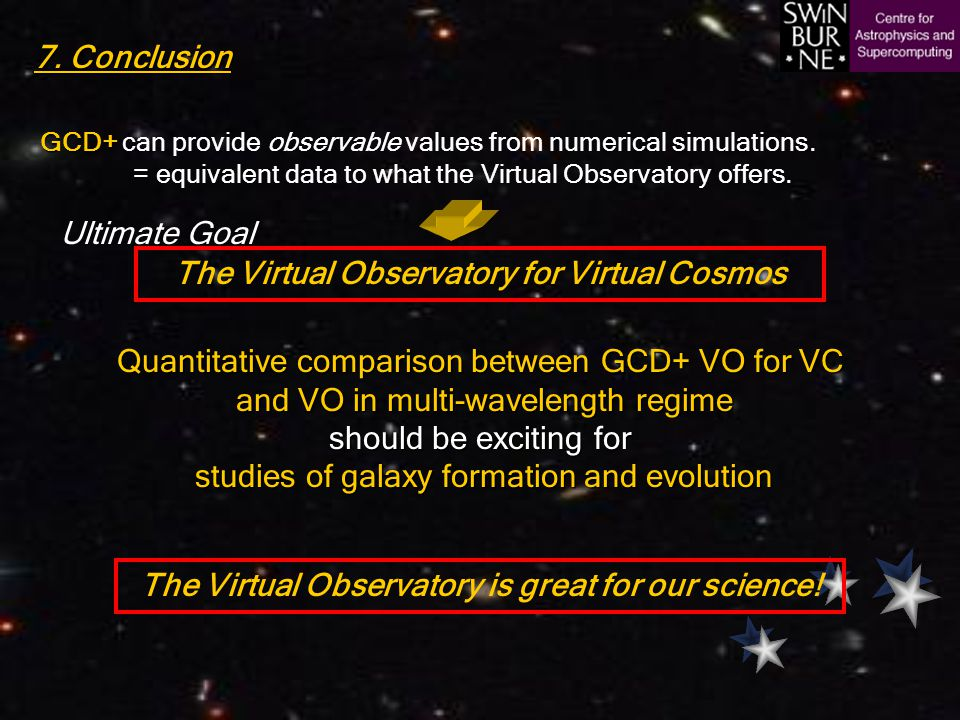 7. Conclusion Quantitative comparison between GCD+ VO for VC and VO in multi-wavelength regime should be exciting for studies of galaxy formation and