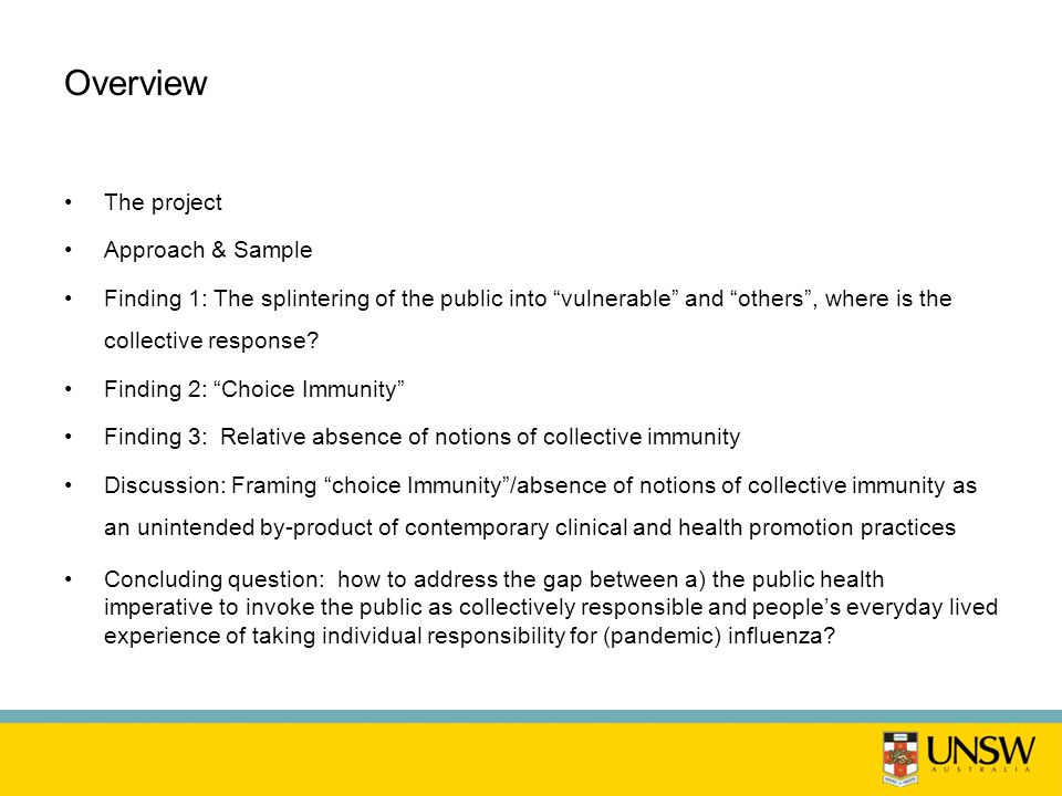 Overview The project Approach & Sample Finding 1: The splintering of the public into vulnerable and others , where is the collective response.