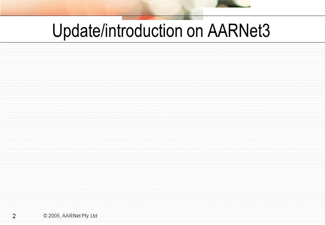 © 2005, AARNet Pty Ltd 2 Update/introduction on AARNet3