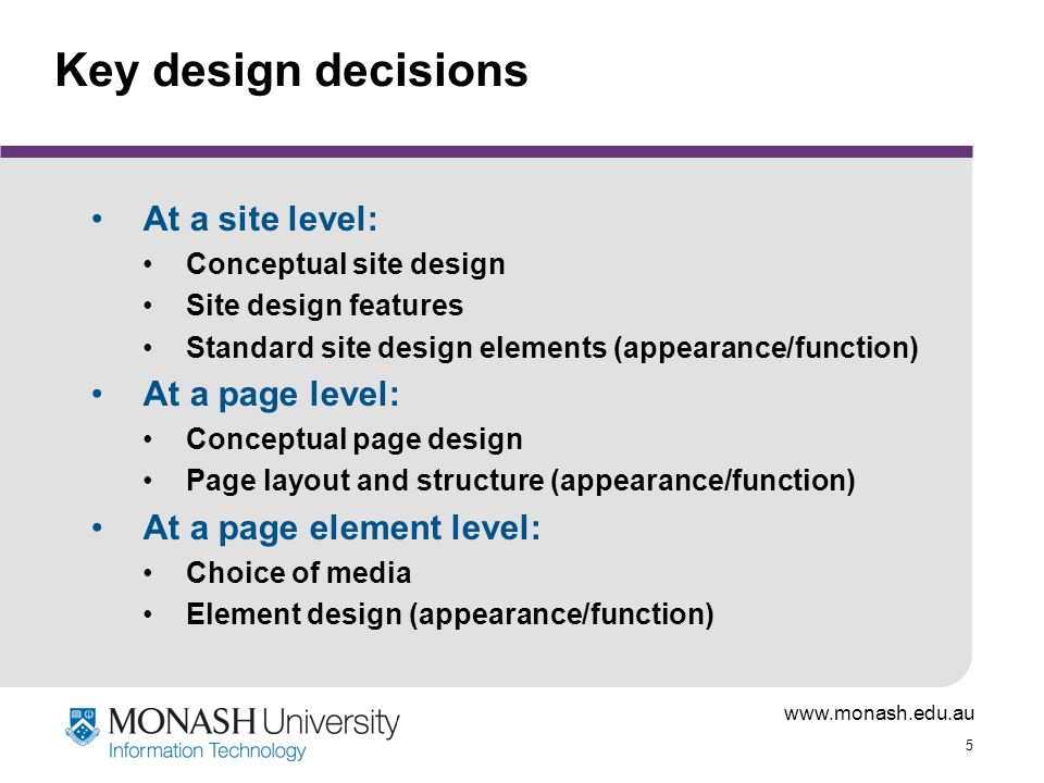 www.monash.edu.au 16 What does this mean for web content.