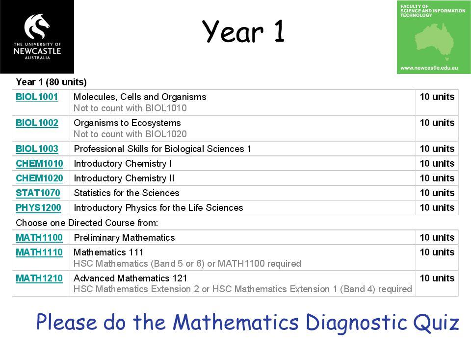 Year 1 Please do the Mathematics Diagnostic Quiz