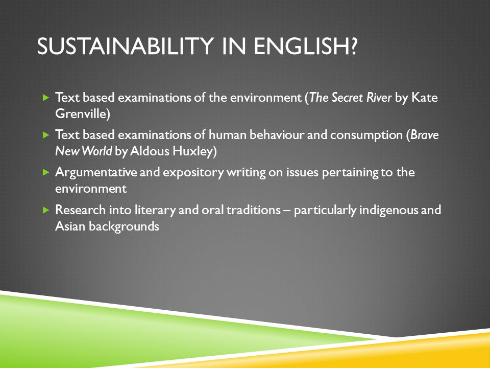 SUSTAINABILITY IN ENGLISH.