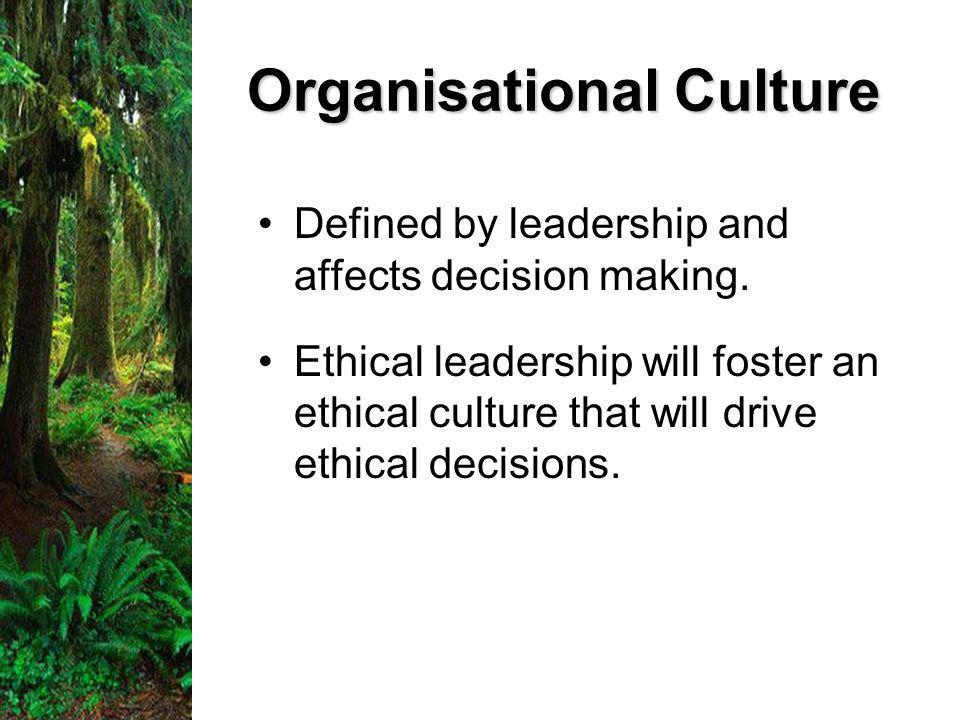 Organisational Culture Defined by leadership and affects decision making.