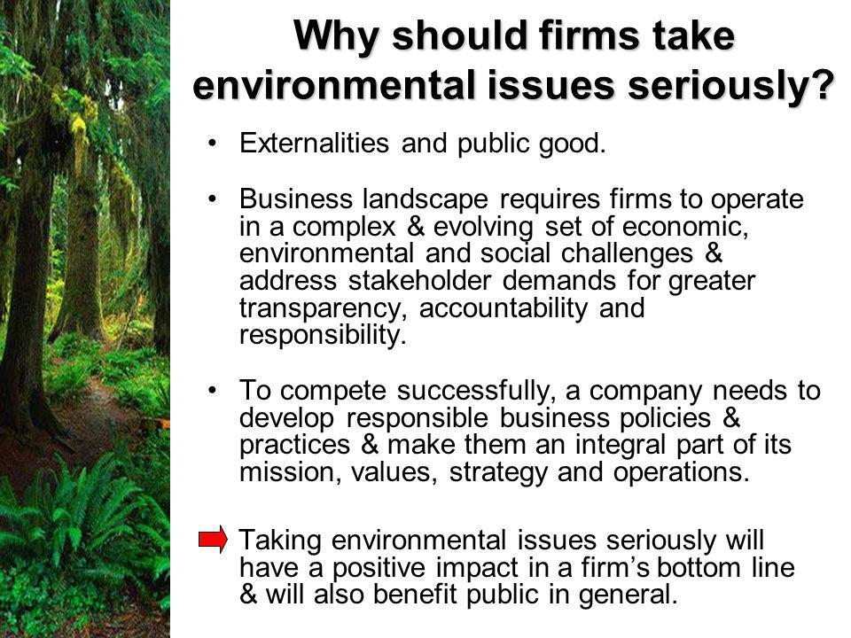 Why should firms take environmental issues seriously.