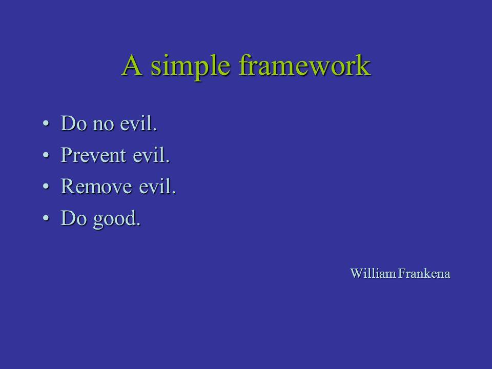 A simple framework Do no evil.Do no evil. Prevent evil.Prevent evil.