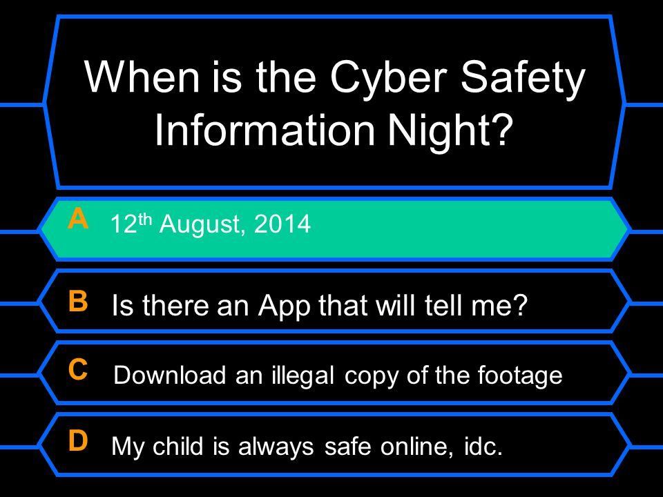 When is the Cyber Safety Information Night? A 12 th August, 2014 B Is there an App that will tell me? C Download an illegal copy of the footage D My c