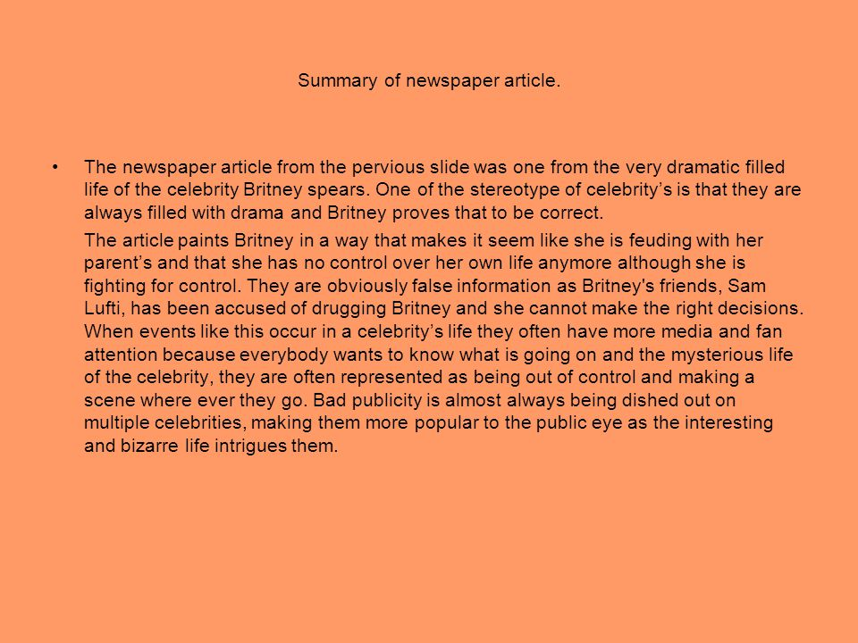 Summary of newspaper article.