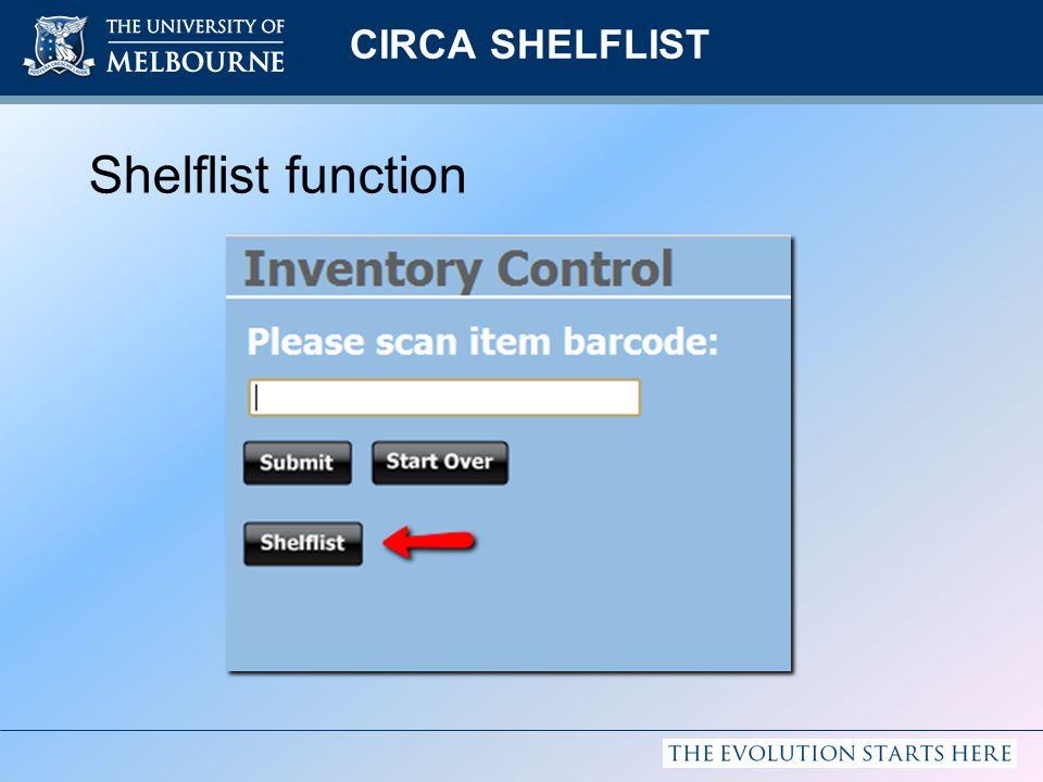 CIRCA SHELFLIST Shelflist function