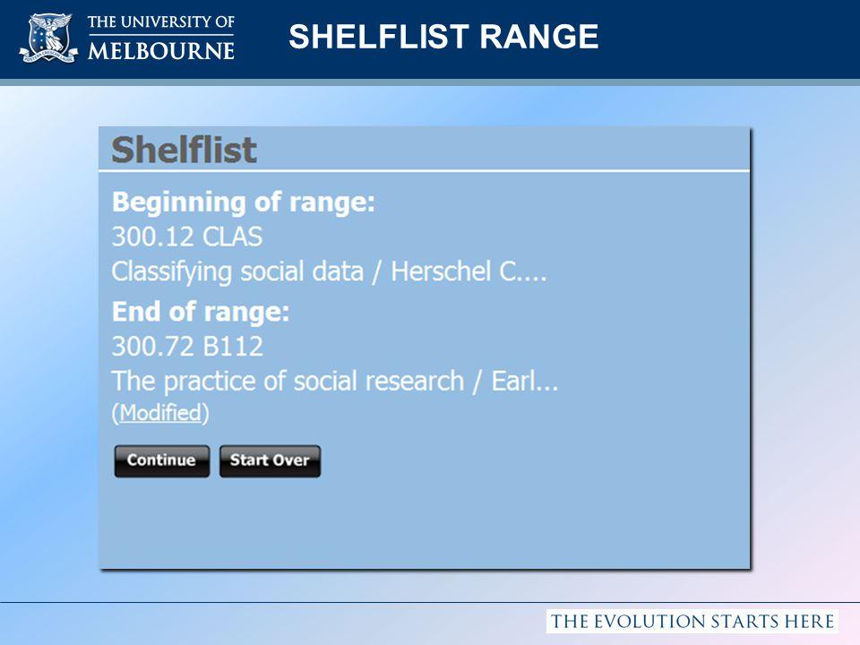 SHELFLIST RANGE