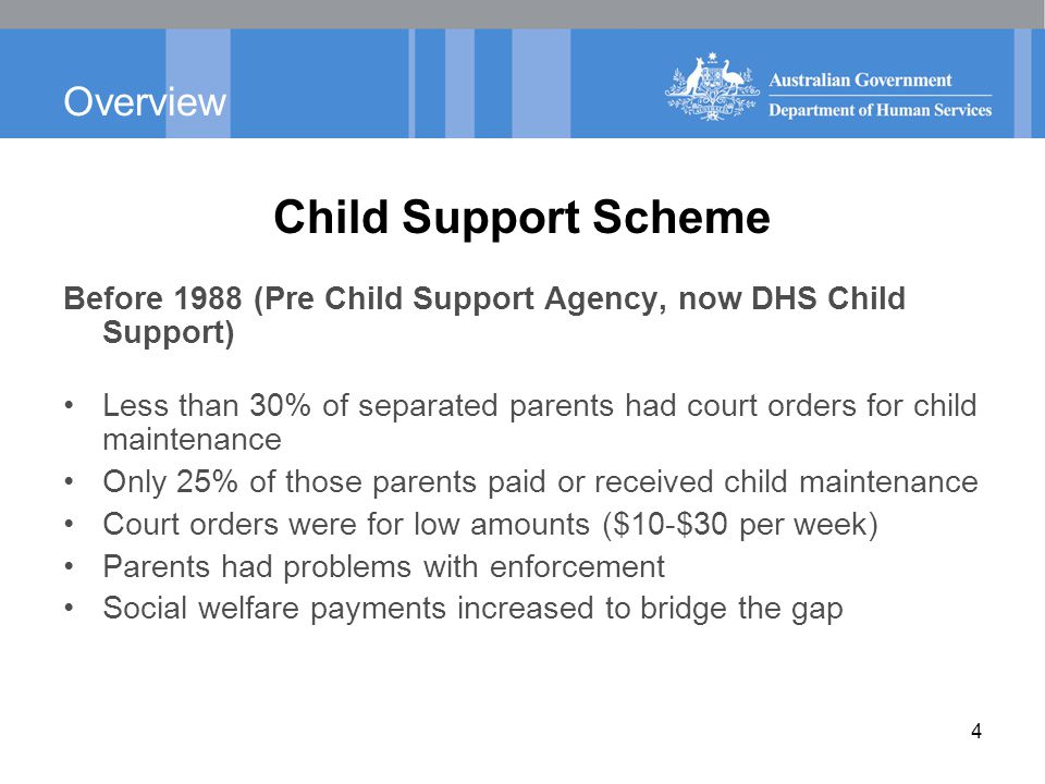 Overview Child Support Scheme Before 1988 (Pre Child Support Agency, now DHS Child Support) Less than 30% of separated parents had court orders for ch