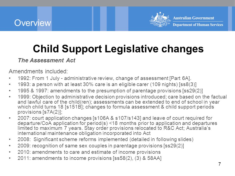 Parentage Child Support amendments Prior to 1 July 2009, Child Support legislation did not provide for same-sex couples to seek child support in the same manner as opposite-sex couples.