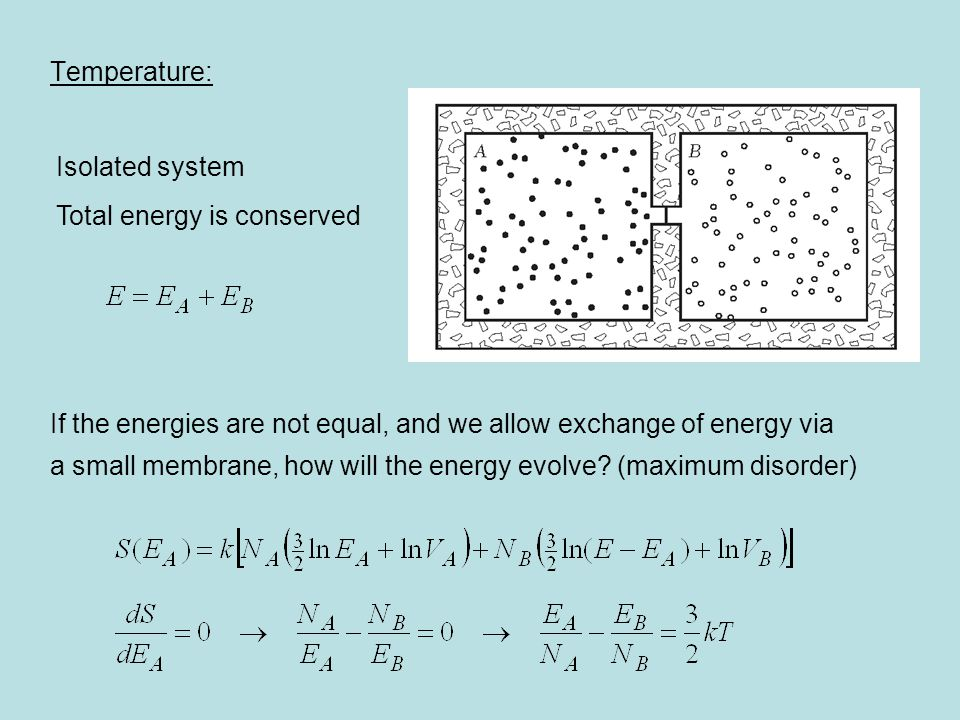 Temperature: If the energies are not equal, and we allow exchange of energy via a small membrane, how will the energy evolve? (maximum disorder) Isola