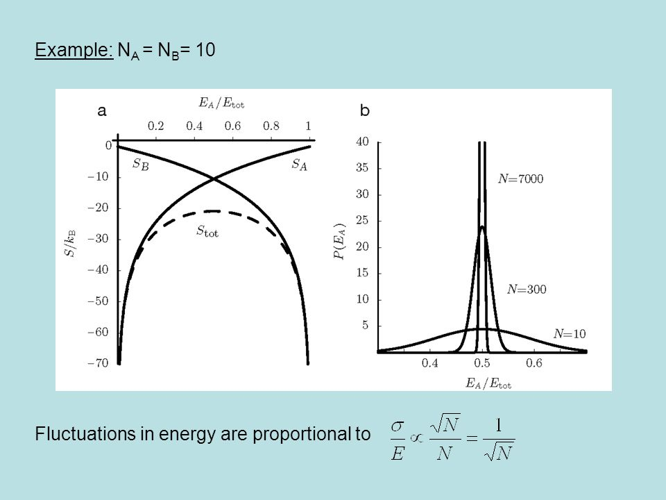 Example: N A = N B = 10 Fluctuations in energy are proportional to