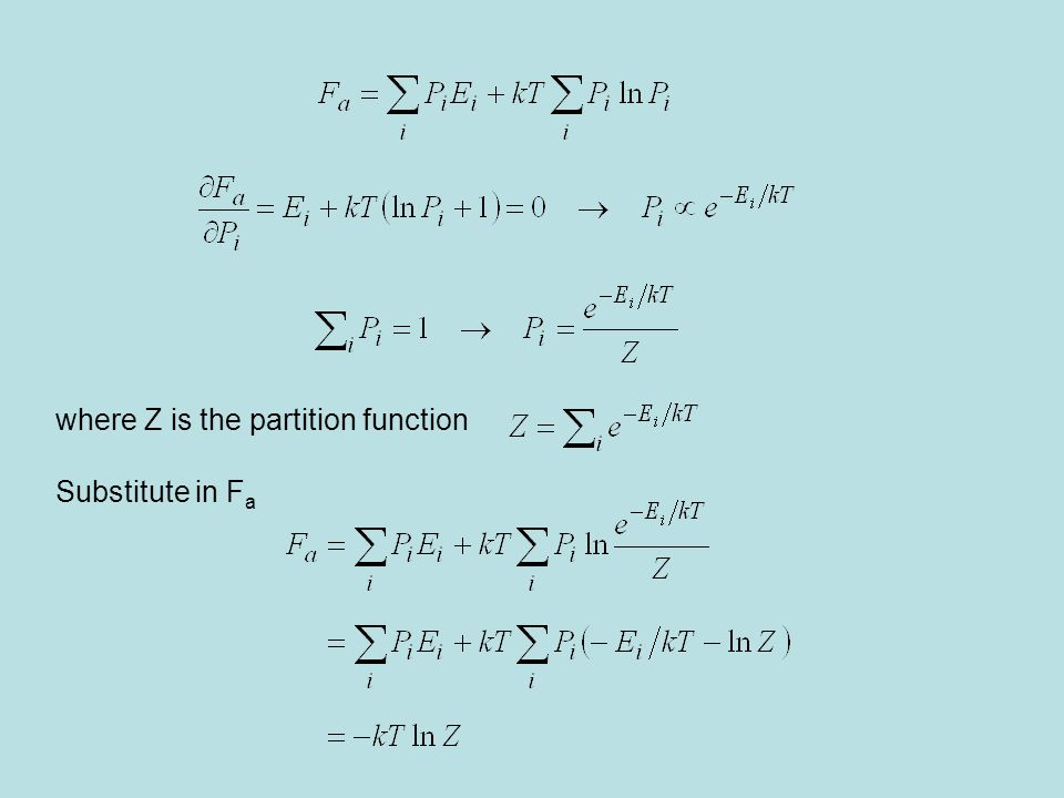 where Z is the partition function Substitute in F a