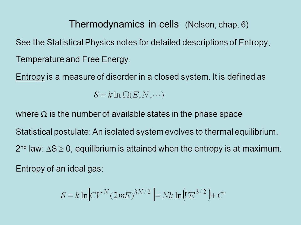 Thermodynamics in cells (Nelson, chap.