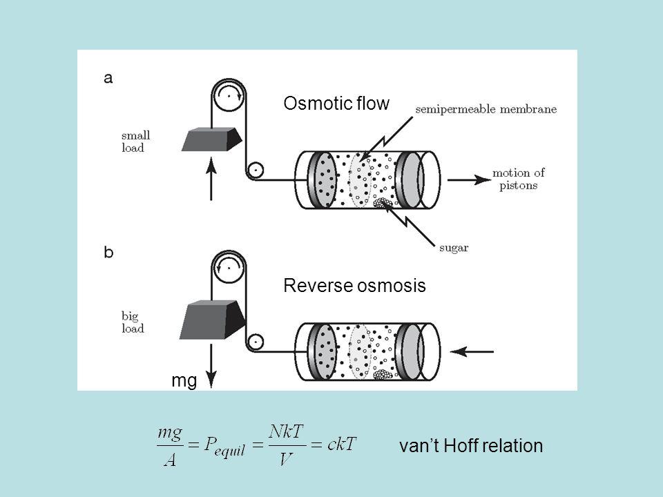 Osmotic flow Reverse osmosis mg van't Hoff relation