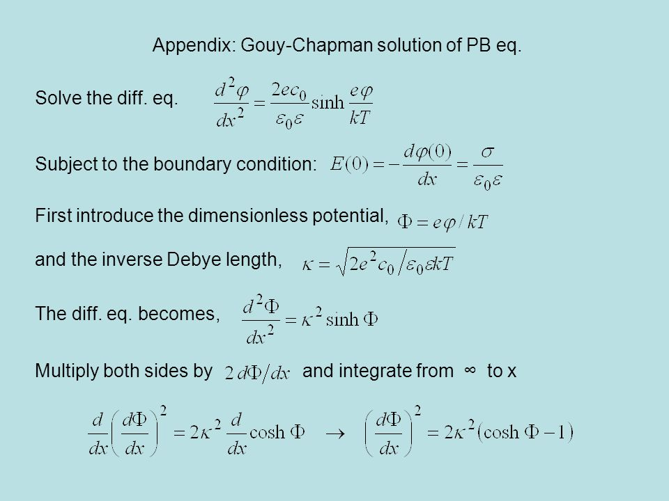 Appendix: Gouy-Chapman solution of PB eq.Solve the diff.