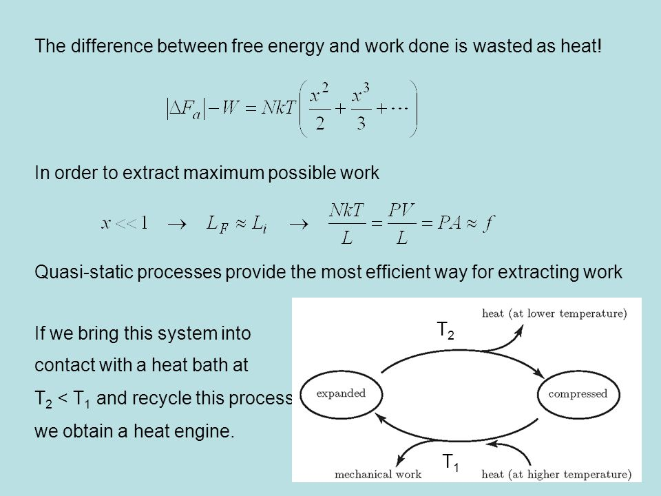 The difference between free energy and work done is wasted as heat.