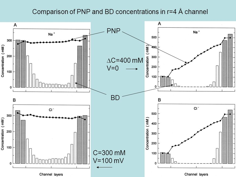 Comparison of PNP and BD concentrations in r=4 Å channel BD PNP C=300 mM V=100 mV  C=400 mM V=0