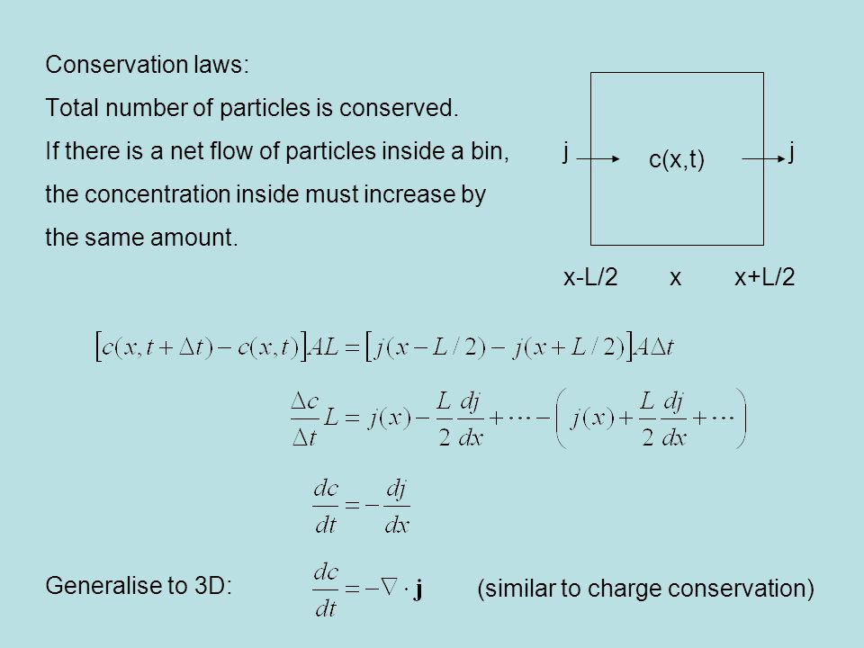 Conservation laws: Total number of particles is conserved.