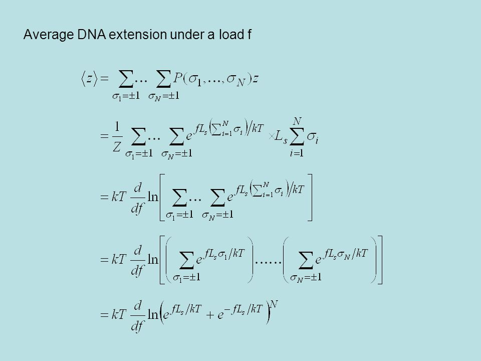Average DNA extension under a load f