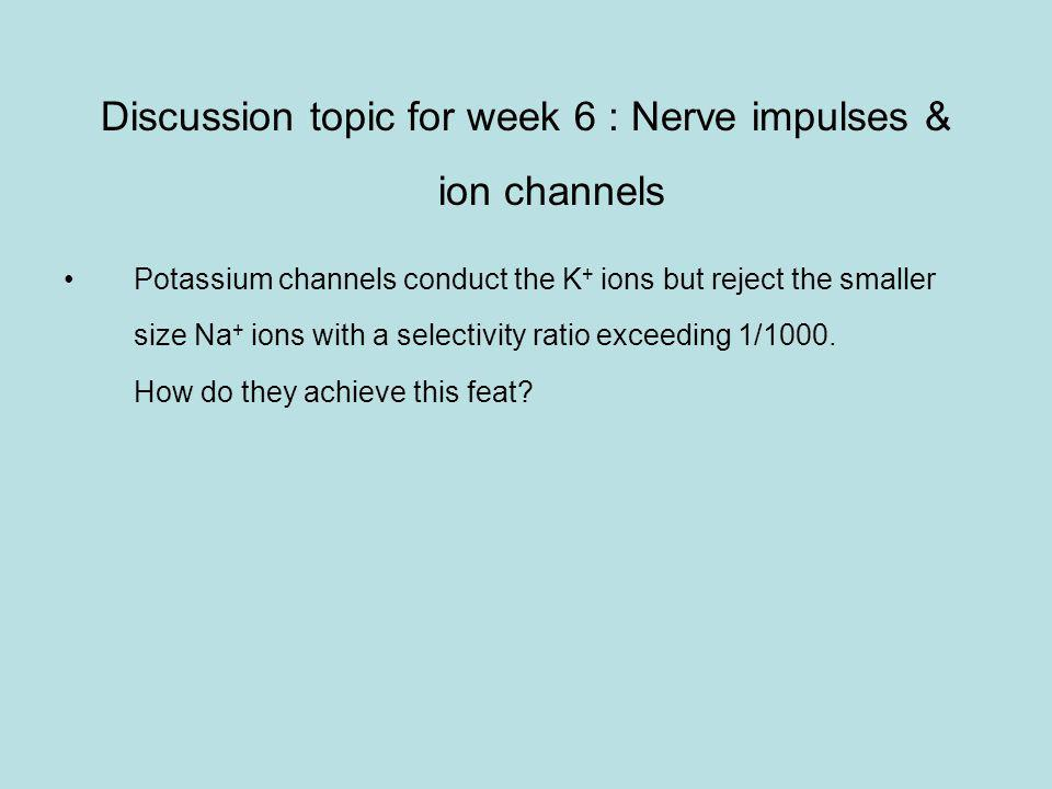 Discussion topic for week 6 : Nerve impulses & ion channels Potassium channels conduct the K + ions but reject the smaller size Na + ions with a selectivity ratio exceeding 1/1000.
