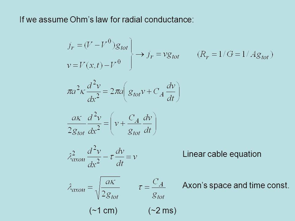 If we assume Ohm's law for radial conductance: Linear cable equation Axon's space and time const.
