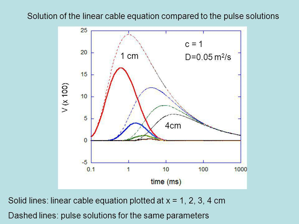Solid lines: linear cable equation plotted at x = 1, 2, 3, 4 cm Dashed lines: pulse solutions for the same parameters 1 cm 4cm Solution of the linear cable equation compared to the pulse solutions c = 1 D=0.05 m 2 /s