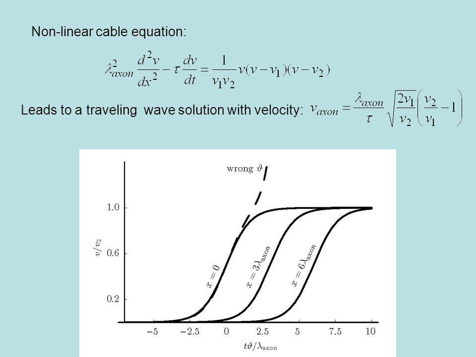 Non-linear cable equation: Leads to a traveling wave solution with velocity: