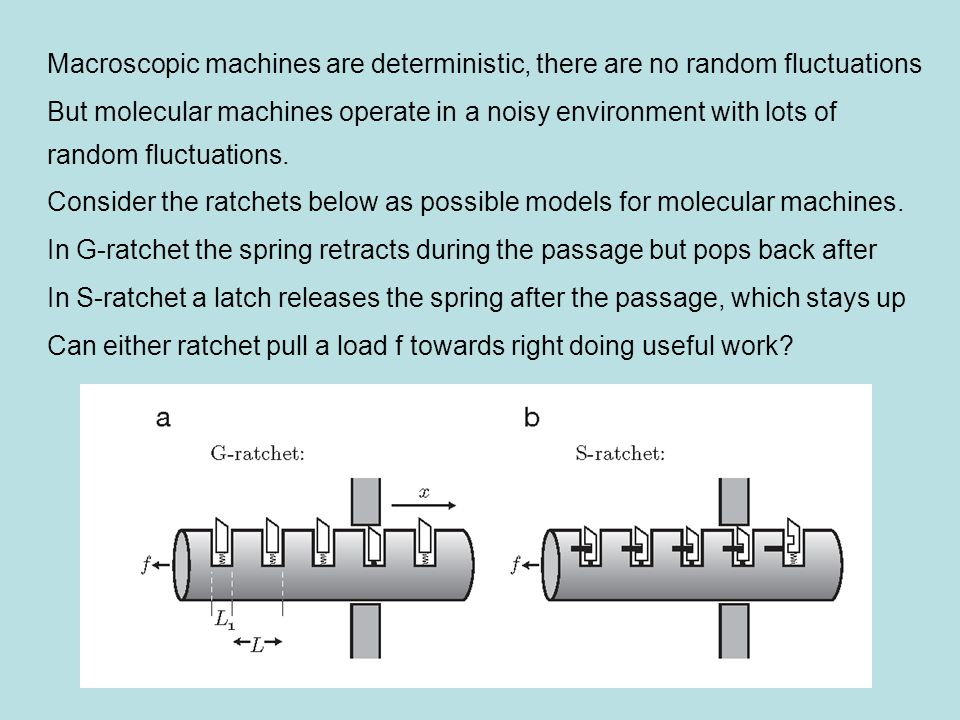 Unloaded G-ratchet makes no net motion, the loaded one moves to the left S-ratchet moves to the right if  f.L, and to the left if  f.L (no net motion if  f.L)